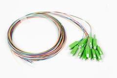 Green fiber optic SC connectors Stock Images