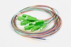 Green fiber optic SC connectors Stock Photography