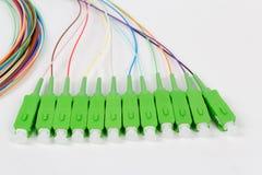 Green fiber optic SC connectors Royalty Free Stock Photo