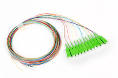 Green fiber optic SC connectors Royalty Free Stock Image