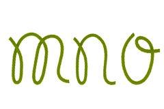 Green fiber rope M,N,O Royalty Free Stock Photos
