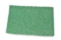 Green fiber scourer pad on white background Royalty Free Stock Photo
