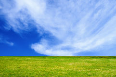 Green field. There is a only house in this green field Royalty Free Stock Photo