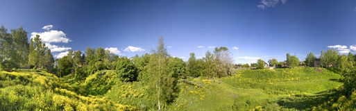 Green field. Panoramic photo of spring landscape with blue sky Royalty Free Stock Images