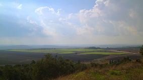 Green field with beautiful summer clouds, Israel stock video footage