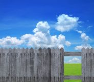 Green field behind old wooden fence Stock Image