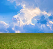 Green field and blue clouds sky. Royalty Free Stock Photos