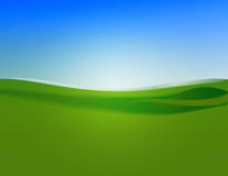 Green field blue sky. Illustration background of a green field and blue sky Royalty Free Stock Image