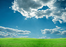 Green field and blue sky. A green field of grass against a blue sky with clouds Stock Photos