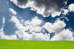 Green field with blue sky and clouds Stock Photos