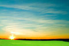 Green field with blue sky and clouds. White clouds, blue sky, green grass, sunny day, spring weather Stock Photography