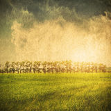 Green field and blue sky. Sky field landscape on a textured vintage paper background Royalty Free Stock Photo
