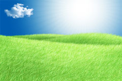 Green field blue sky white cloud and sun rays. Idillic ullustration Royalty Free Stock Image