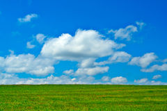 Green field, blue sky and white clouds. Background Royalty Free Stock Image