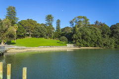 Green Field and Calm Water at Judges Bay Parnell Auckland New Zealand Royalty Free Stock Image