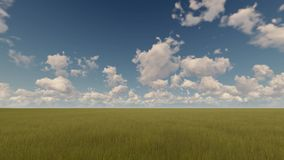 Green field and cloudy sky time lapse. Green field and cloudy blue sky time lapse stock footage