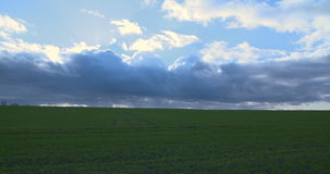 Green field and cloudy sky. Cloudy sky timelapse and green field. Shoot on sony FS7 4K stock video