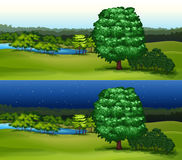 Green field at daytime and night time Stock Photos