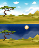 Green field at daytime and nighttime. Illustration Stock Image