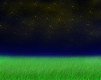 Green field in the evening. Picture of the green field in the evening and sky field with shiny stars made in photoshop Stock Image