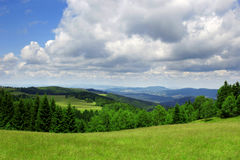Green field. Excellent sky and green fields landscape Stock Photography