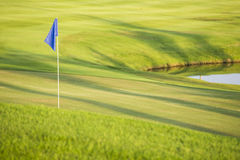 Green field golf with flag Stock Photos