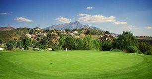 Green field. Golf field wth the mountain Royalty Free Stock Image