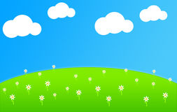 Green Field. Illustration of a Green Field with White Clouds and Flowers Royalty Free Stock Photos