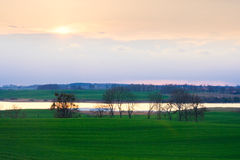 Green field landscape witistant rer Stock Photo