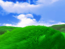 Green field meadow hill background Stock Images