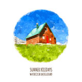 Green field, mountain and house, vector watercolor illustration. Summer holiday in nature, background with place for text Royalty Free Stock Images