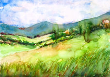 Green field in mountain landscape watercolor painted. Green field in mountain landscape watercolor on paper Royalty Free Stock Images