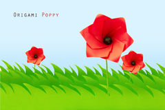 Green field with origami poppy Royalty Free Stock Photography