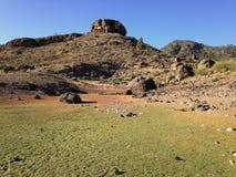 Green field and peak in Gran Canaria. Green field in the dam of las niñas, Gran Canaria, Canary islands royalty free stock image