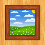 Green field picture. Picture of summer green field on wooden wall Stock Photography