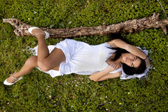 On a green field of pure white Royalty Free Stock Photo