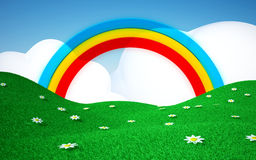 Green field with rainbow. Green field with daisies and rainbows with clouds. 3d cartoon landscape Royalty Free Stock Image