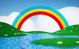 Green field with rainbow. Green field with daisies and rainbows with clouds. 3d cartoon landscape Stock Photos