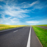 Green field and road Royalty Free Stock Photo