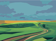Green field and road landscape. Vector illustration Royalty Free Stock Photography