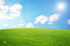 Green field and sky blue with white cloud. Azure background beautiful blue bright cloud cloudy royalty free stock image
