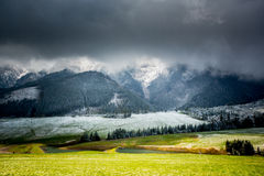 Green field and snowy mountain frost Stock Image