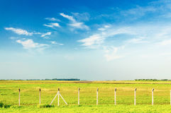 Green field with some fences on a beautiful blue sky day Stock Photo
