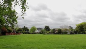 Green field and suburban houses landscape stock video