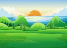 Green field at sunset. Illustration Royalty Free Stock Photos