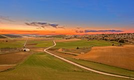 Green field on a sunset and orange sky. Spain Royalty Free Stock Photography