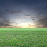 Green Field and sunset sky view. Royalty Free Stock Photography
