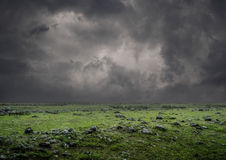 Green field during a thunderstorm. Royalty Free Stock Photo
