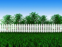 Green field and trees in garden. 3d trees grow in the meadow behind the white fence Royalty Free Stock Photos