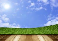 Green field under blue sky. Wood planks floor.  Stock Photos